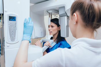 woman getting digital x-ray