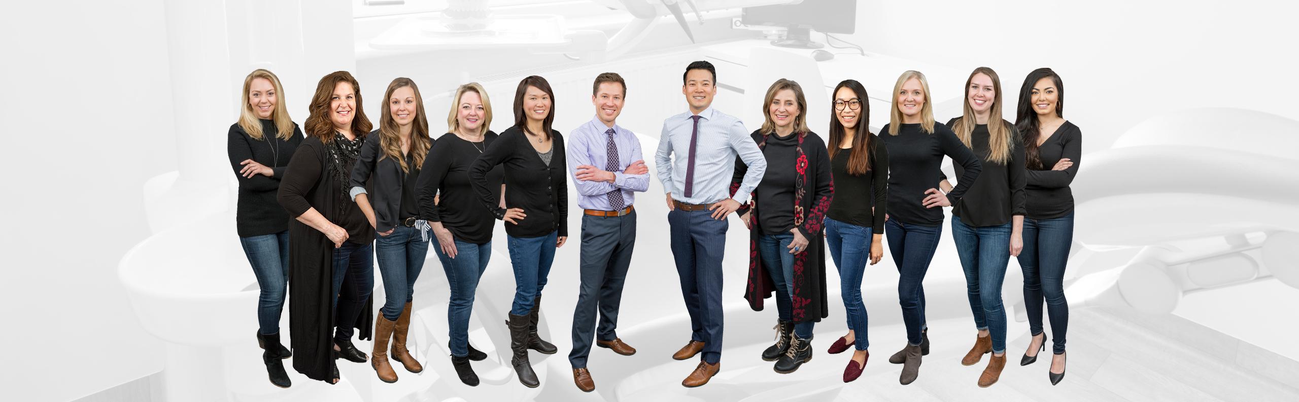 Calgary dentist and his team